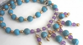 Athena Pearl Turquoise Necklace