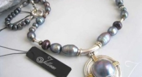 Blue Moon Mabe Pearl Necklace