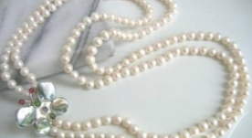 Madame Butterfly Double Row Pearls Necklace