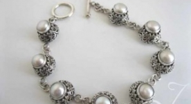 Pearly Lace Sterling Bracelet