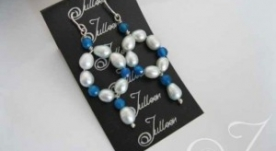 Keesha Blue Pearl Loop Earrings