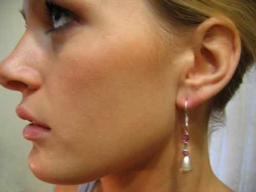 Pink Pearl Drop Earring with Ruby