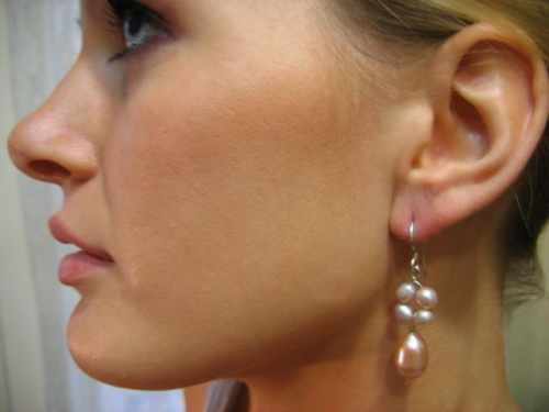 Pink Pearl Drop Earring