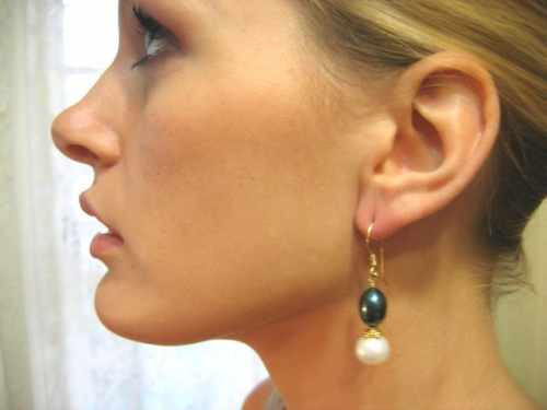 Gold Pearl Earring Peacock Green
