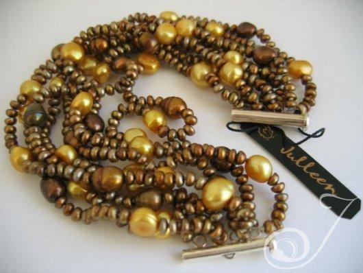 Golden Haze Pearl Cuff Bracelet B2100