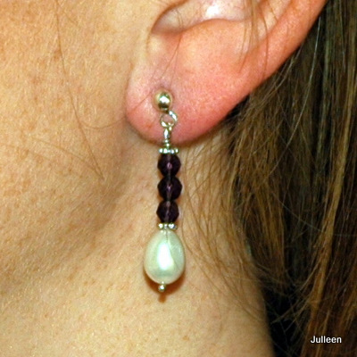 Pearl Drop Earring Amethyst