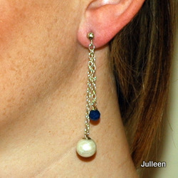 Drop Pearl Earring with lapis