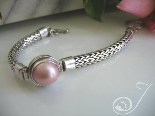 Pink Pearl Mabe Chunky Bracelet UB701-03