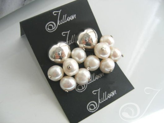 Sarina Pearl Cluster Earrings E005-01