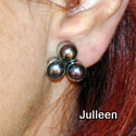 black 3 pearl clipon earring