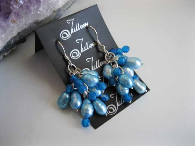 Cuban Blue Pearl Cluster Earrings E076-04
