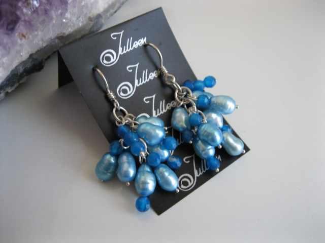 Cuban Blue Pearl Cluster Earrings E076-04