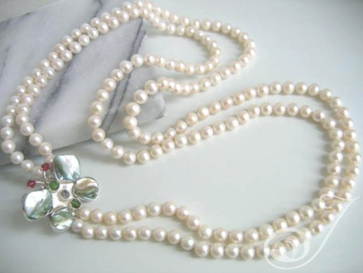 Madame Butterfly Double Row Pearls Necklace JBP001