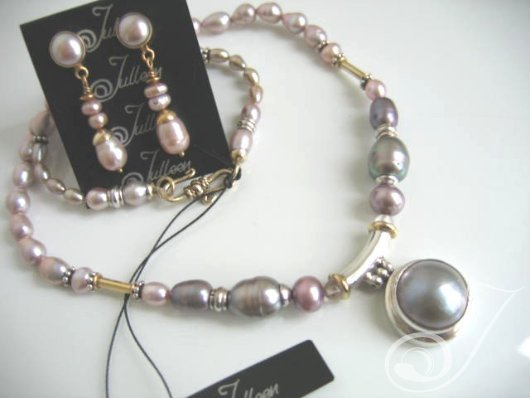 Mauve Mabe Pearl Necklace Set PD221-19S