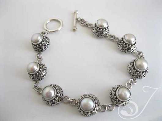 Pearly Lace Sterling Bracelet UB211_B
