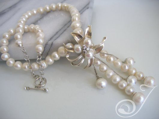 Retro Chic Sterling Flower Pearl Necklace BPD100