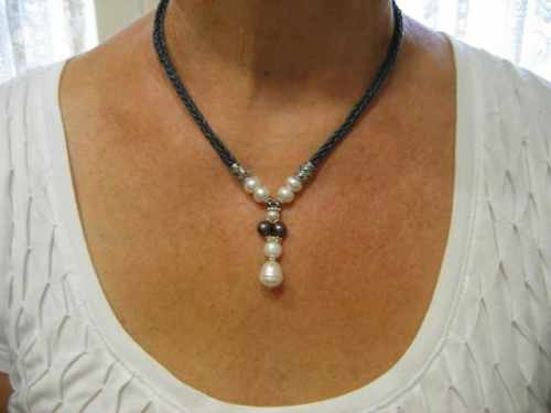 Leather and Pearl Necklace