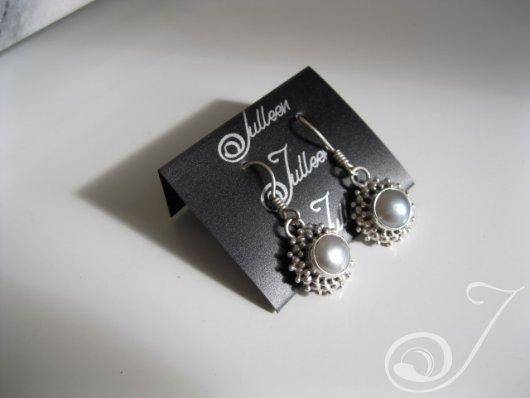 Silver Lace Grey Pearl Earring E111.03